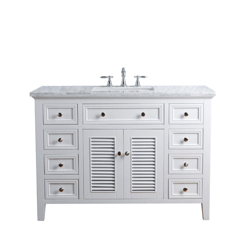 Stufurhome Genevieve 48 Inches White Single Vanity Cabinet w/ Shutter Double Doors Single Bathroom Sink