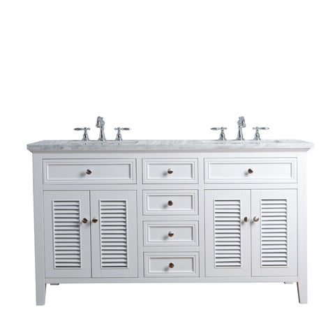Stufurhome Genevieve 60 Inches White Double Vanity Cabinet w/ Shutter Double Doors Dual Bathroom Sinks