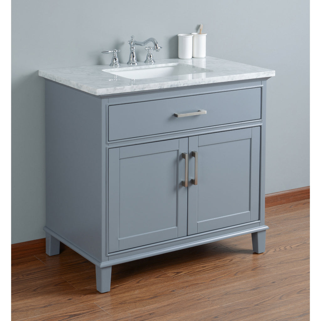 Stufurhome Leigh 36 Inches Grey Single Sink Bathroom Vanity