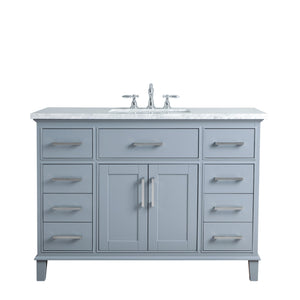Stufurhome Leigh 48 Inches Grey Single Sink Bathroom Vanity