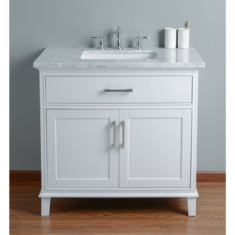 Stufurhome Leigh 36 Inches White Single Sink Bathroom Vanity