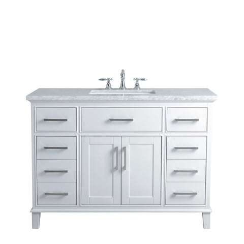 Stufurhome Leigh 48 Inches White Single Sink Bathroom Vanity