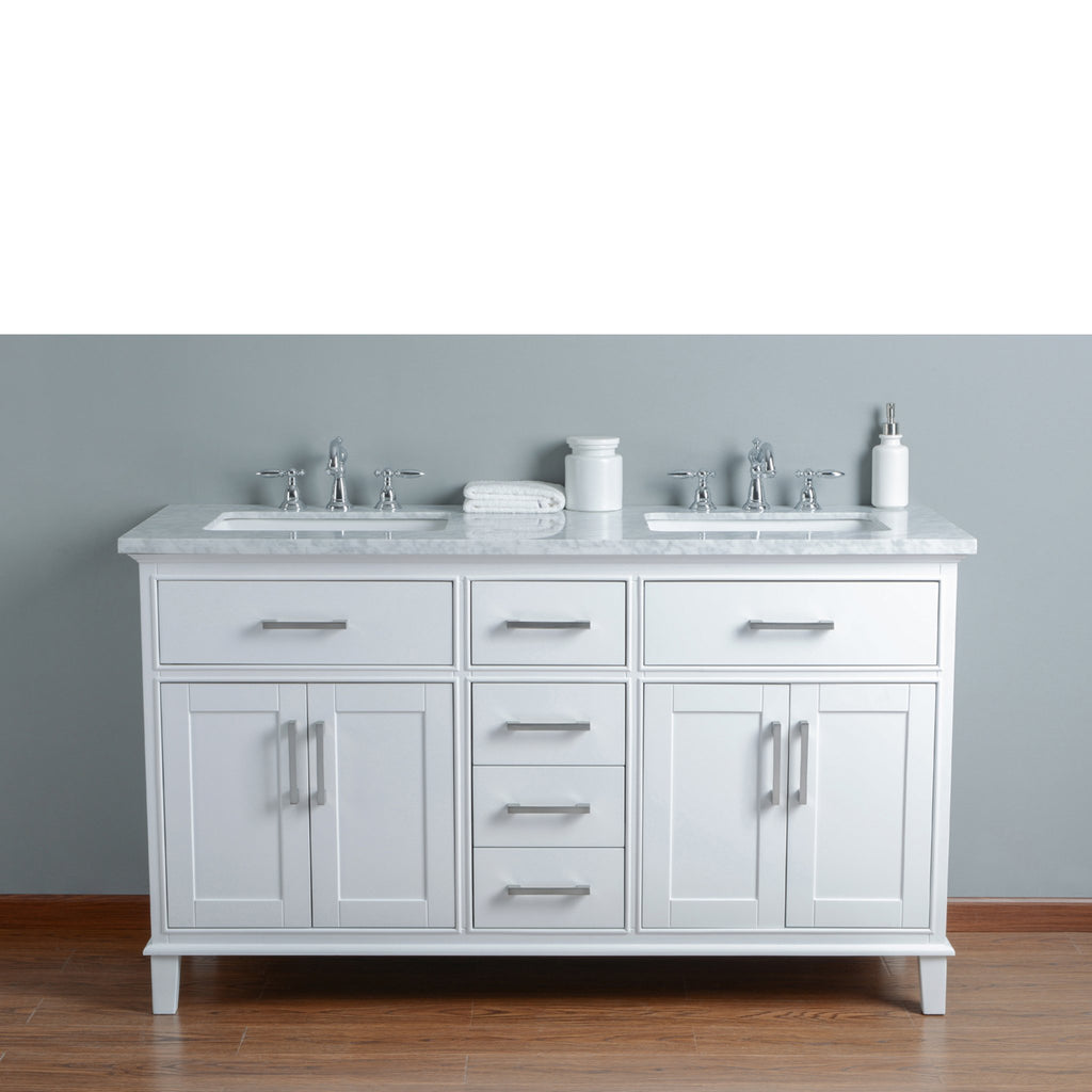 Stufurhome Leigh 60 Inches White Double Sink Bathroom Vanity