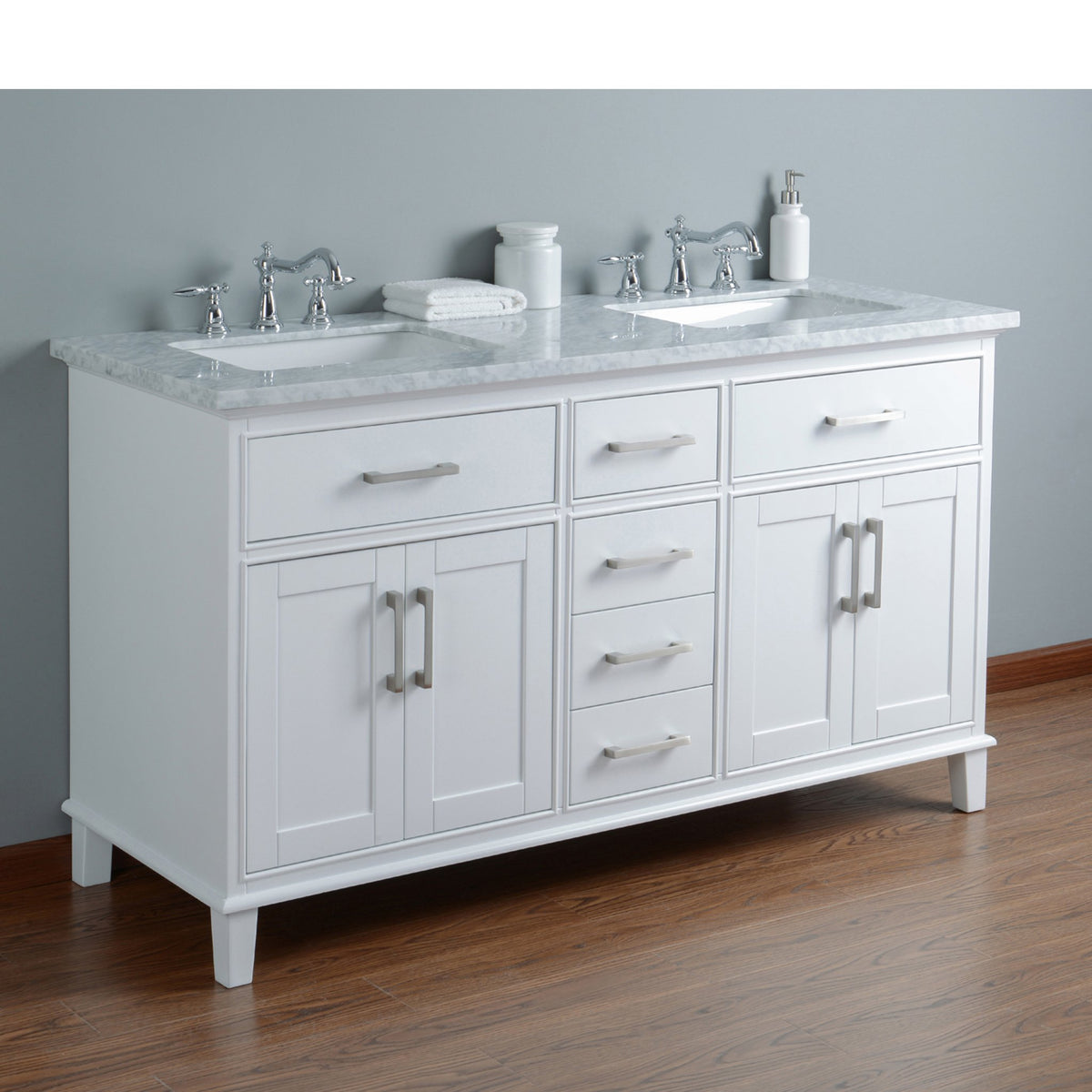 Stufurhome Leigh 60 Inches White Double Sink Bathroom ...