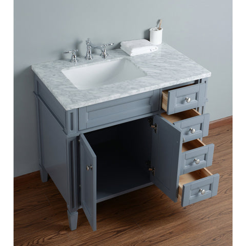 Stufurhome Anastasia French 36 Inches Grey Single Sink Bathroom Vanity