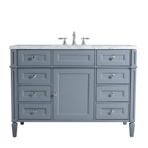 Stufurhome Anastasia French 48 Inches Grey Single Sink Bathroom Vanity