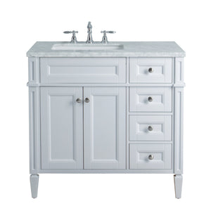 Stufurhome Anastasia French 36 Inches White Single Sink Bathroom Vanity