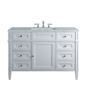 Stufurhome Anastasia French 48 Inches White Single Sink Bathroom Vanity