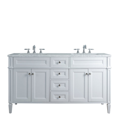 Stufurhome Anastasia French 60 Inches White Double Sink Bathroom Vanity