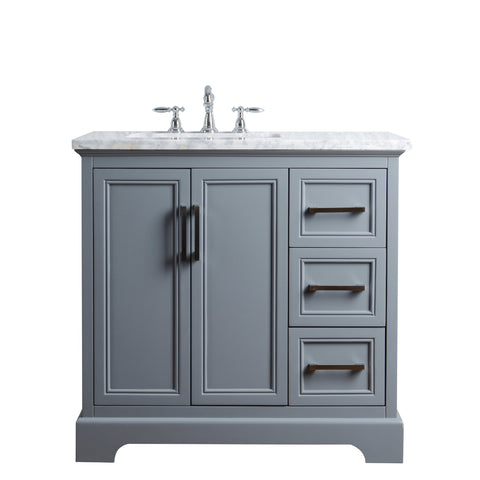 Stufurhome Ariane 36 Inches Slate Gray Single Vanity Cabinet Single Bathroom Sink