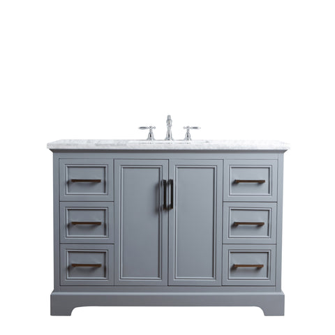 Stufurhome Ariane 48 Inches Slate Gray Single Vanity Cabinet Single Bathroom Sink