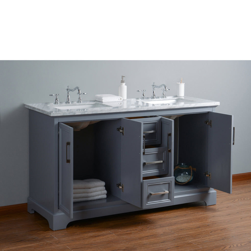 Stufurhome Ariane 60 Inches Slate Gray Double Vanity Cabinet Dual Bathroom Sinks