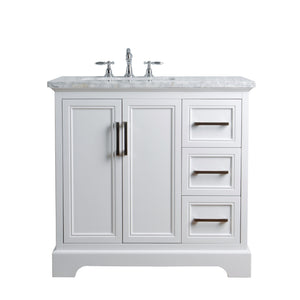 Stufurhome Ariane 36 Inches White Single Vanity Cabinet Single Bathroom Sink