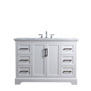 Stufurhome Ariane 48 Inches White Single Vanity Cabinet Single Bathroom Sink