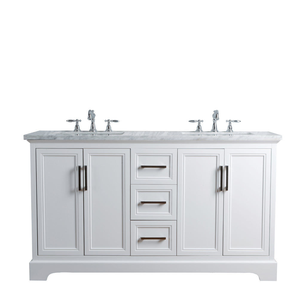 Stufurhome Ariane 60 Inches White Double Vanity Cabinet Dual Bathroom Stufurhome