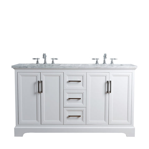 Stufurhome Ariane 60 Inches White Double Vanity Cabinet Dual
