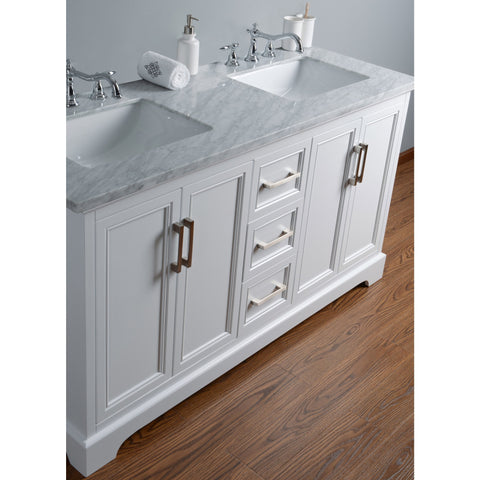 Stufurhome Ariane 60 Inches White Double Vanity Cabinet Dual Bathroom Sinks