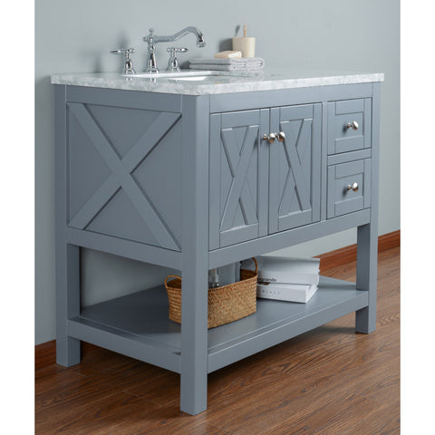 Stufurhome Anabelle 36 Inches Grey Single Sink Bathroom Vanity