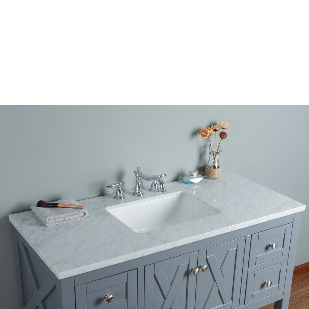 Stufurhome Anabelle 48 Inches Grey Single Sink Bathroom Vanity