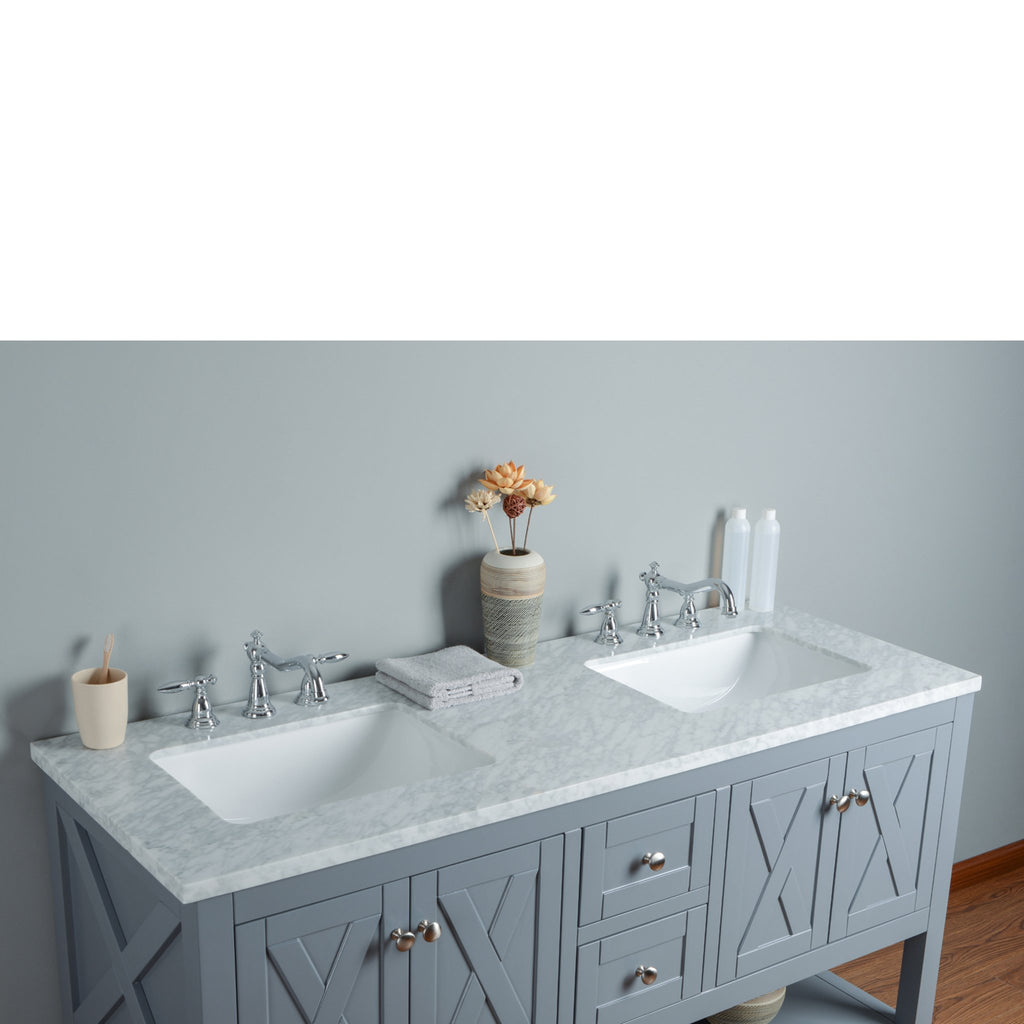 Stufurhome Anabelle 60 Inches Grey Double Sink Bathroom Vanity