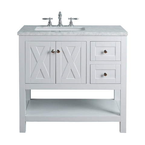 Stufurhome Anabelle 36 Inches White Single Sink Bathroom Vanity