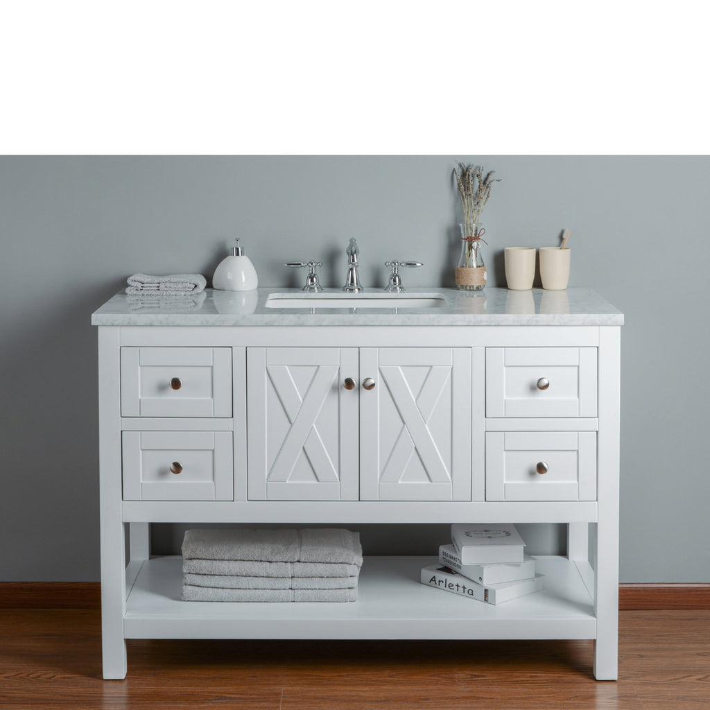 Stufurhome Anabelle 48 Inches White Single Sink Bathroom Vanity