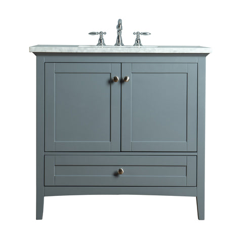 Stufurhome Tower Modern 36 Inches Grey Single Sink Bathroom Vanity
