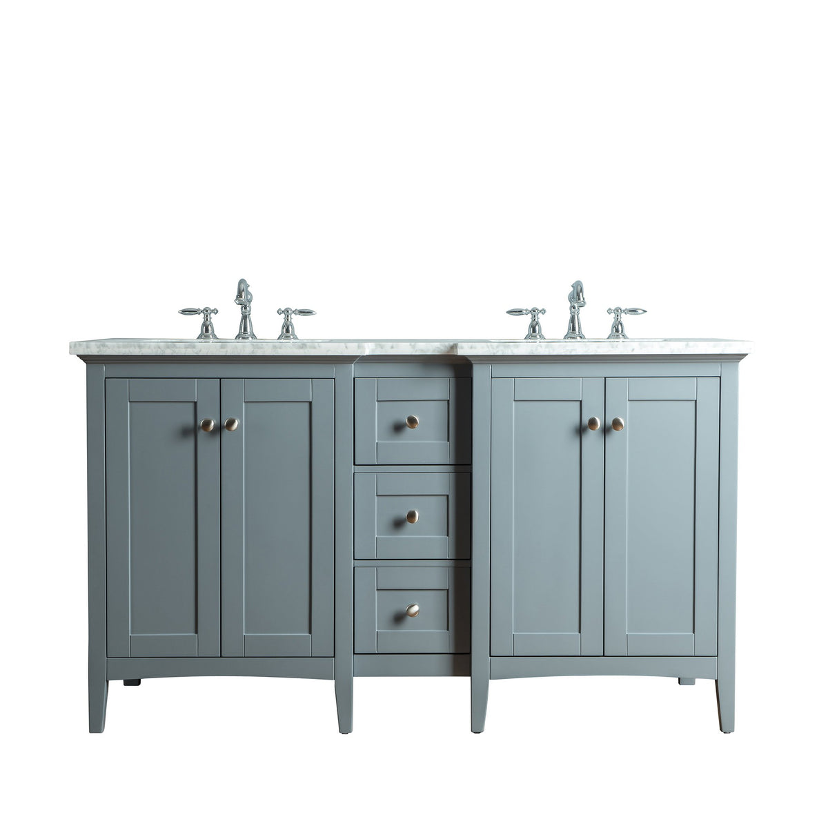 Stufurhome Tower Modern 60 Inches Grey Double Sink ...
