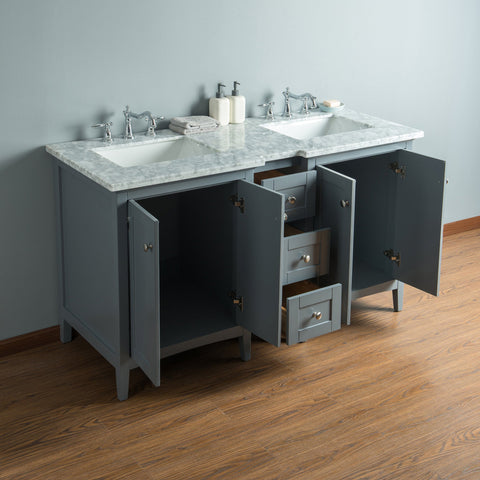 Stufurhome Tower Modern 60 Inches Grey Double Sink Bathroom Vanity