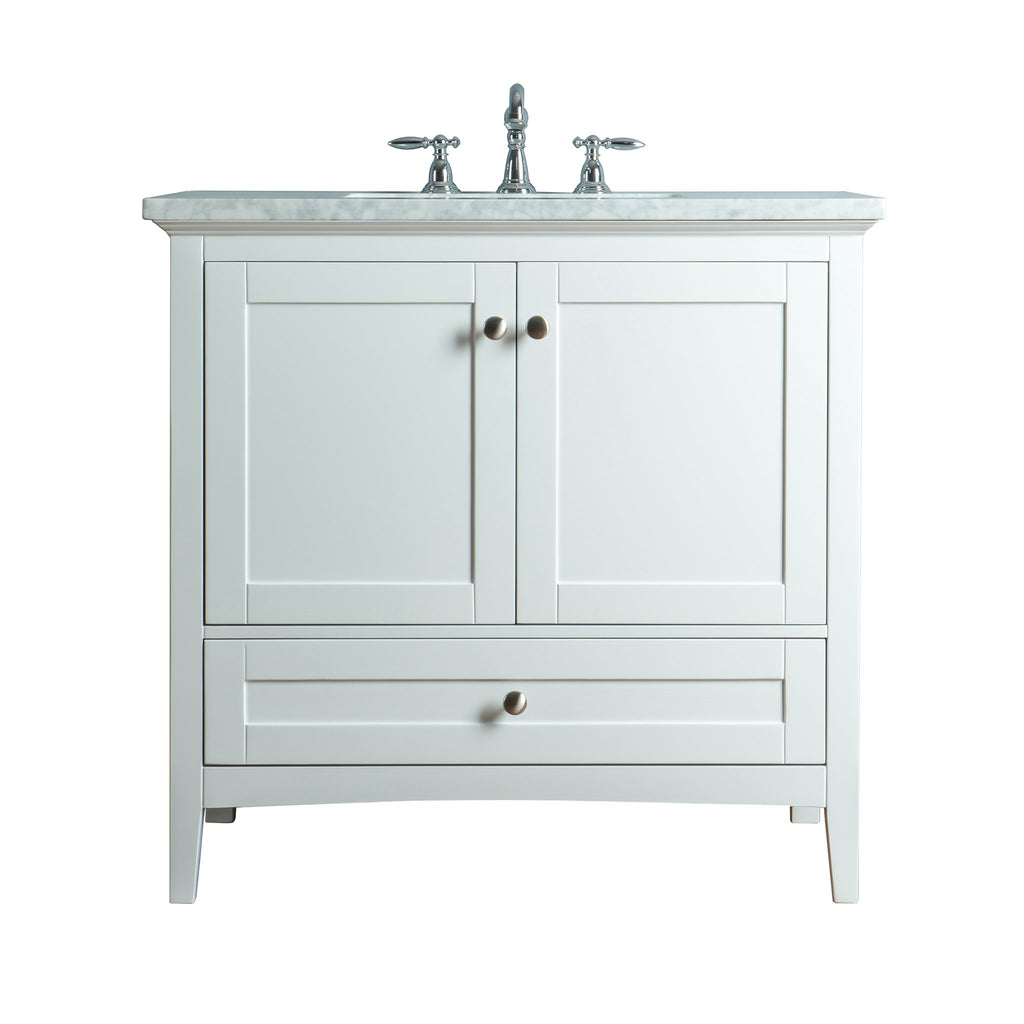 Stufurhome Tower Modern 36 Inches White Single Sink Bathroom Vanity