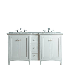 Stufurhome Tower Modern 60 Inches White Double Sink Bathroom Vanity