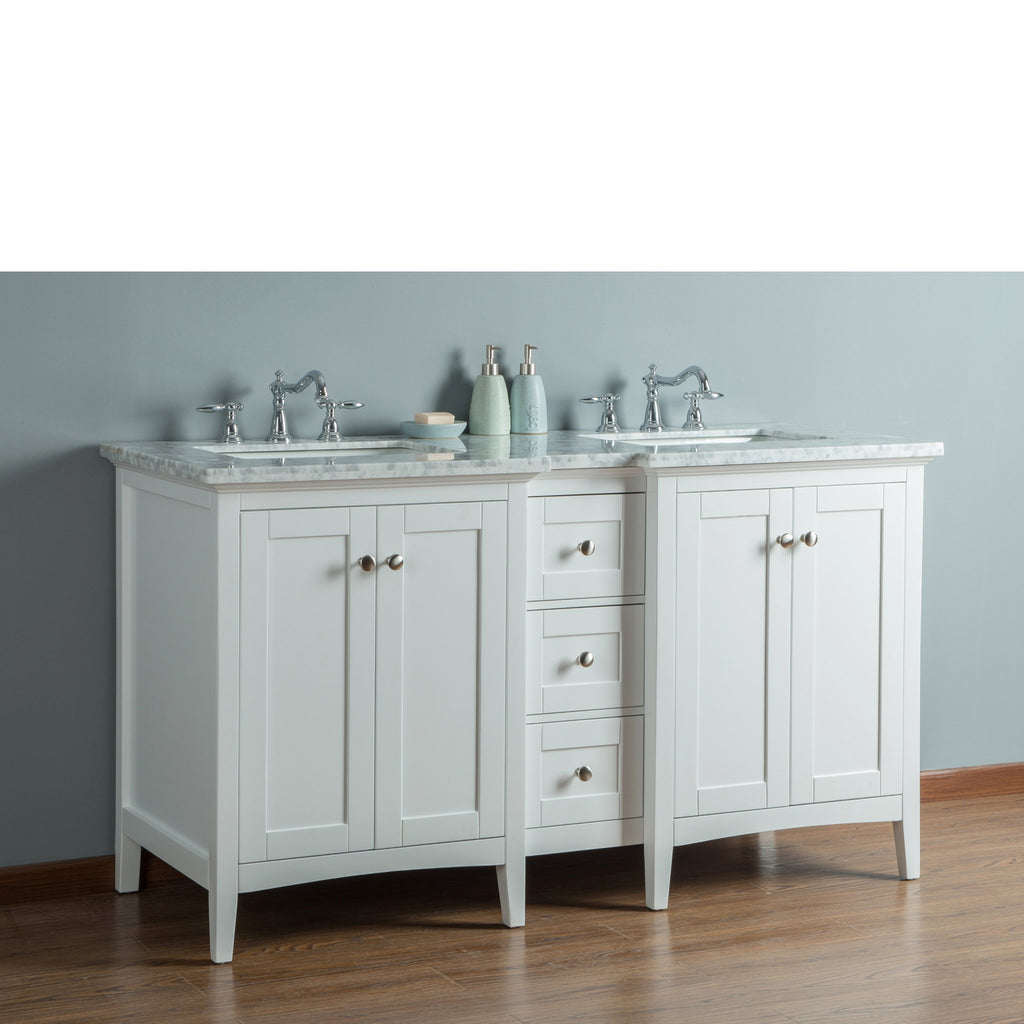 Stufurhome Tower Modern 60 Inches White Double Sink ...