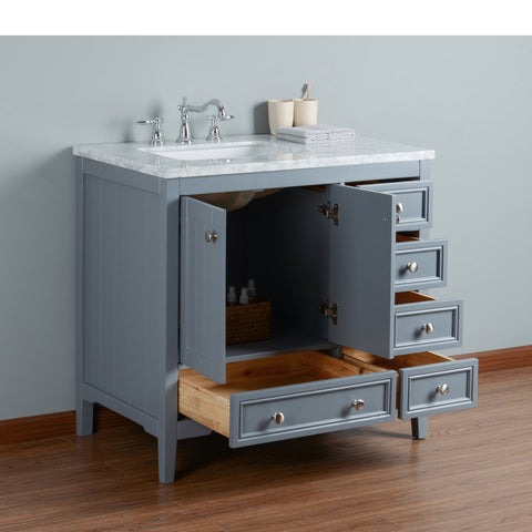 Stufurhome New Yorker 36 Inches Grey Single Sink Bathroom Vanity