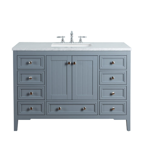Stufurhome New Yorker 48 Inches Grey Single Sink Bathroom Vanity