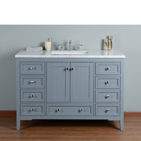 Stufurhome New Yorker 48 Inches Grey Single Sink Bathroom ...