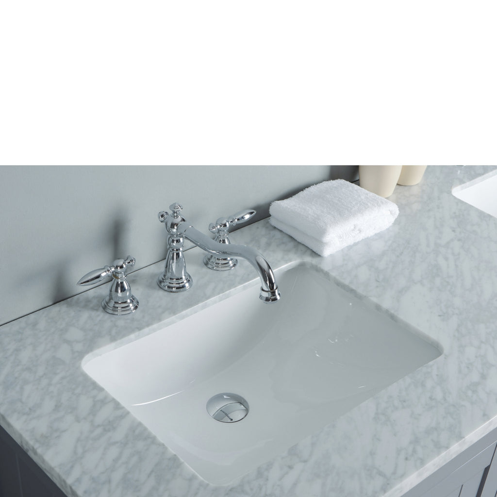 Stufurhome New Yorker 60 Inches Grey Double Sink Bathroom Vanity