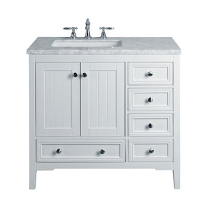 Stufurhome New Yorker 36 Inches White Single Sink Bathroom Vanity