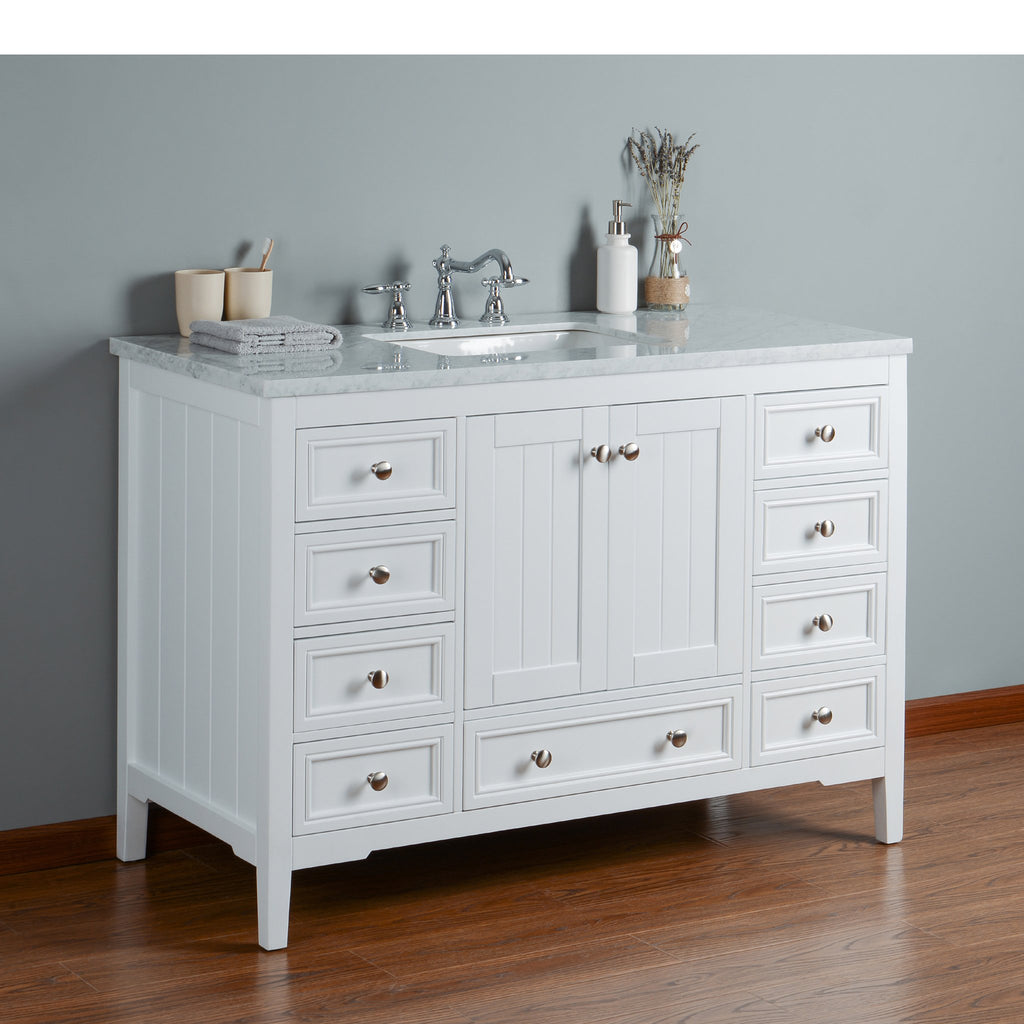 Stufurhome New Yorker 48 Inches White Single Sink Bathroom Vanity
