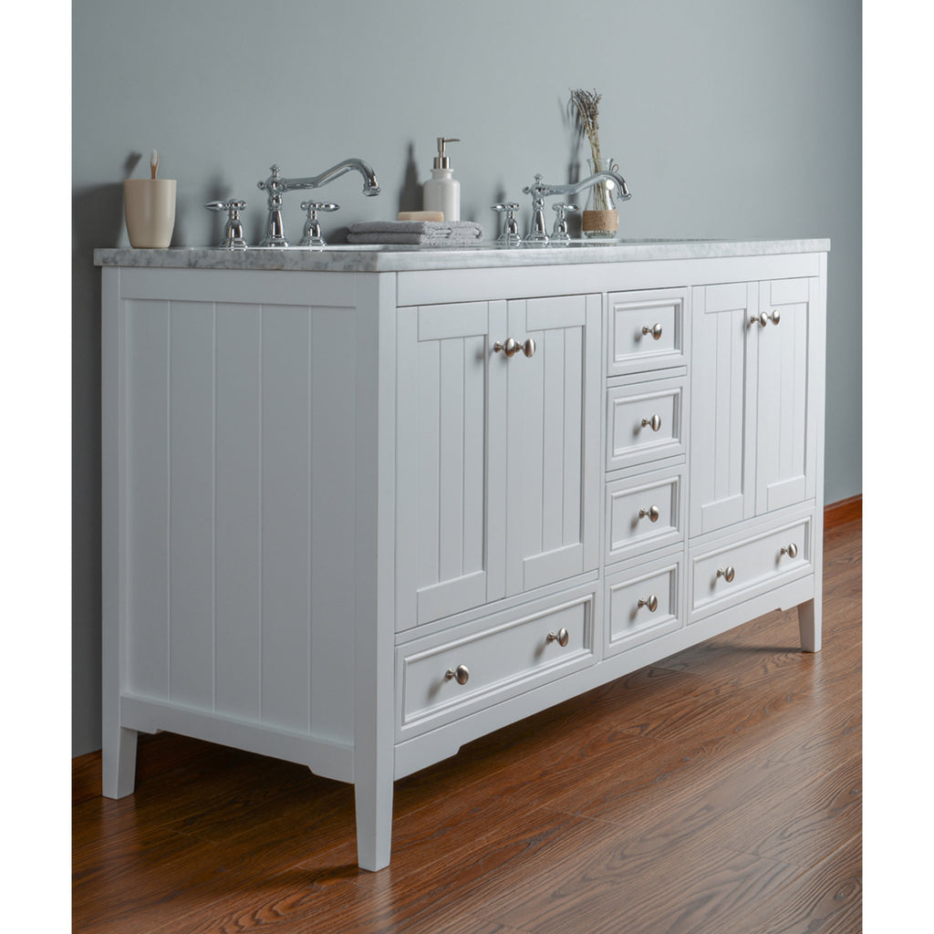 Stufurhome New Yorker 60 Inches White Double Sink Bathroom Vanity