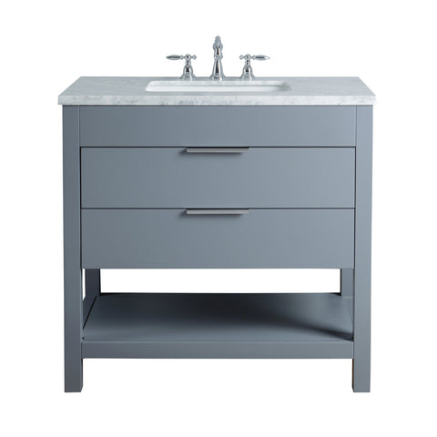 Stufurhome Rochester 36 Inches Grey Single Sink Bathroom Vanity