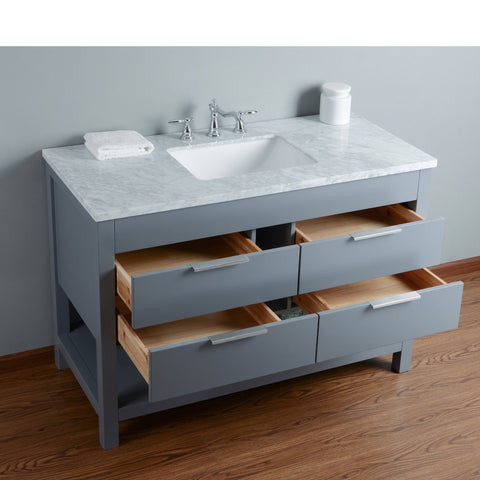 Stufurhome Rochester 48 Inches Grey Single Sink Bathroom Vanity