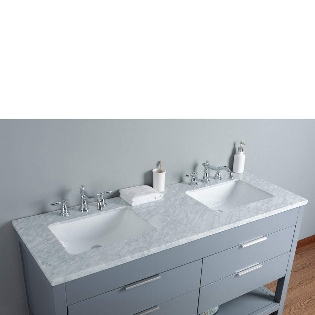 Stufurhome Rochester 60 Inches Grey Double Sink Bathroom Vanity