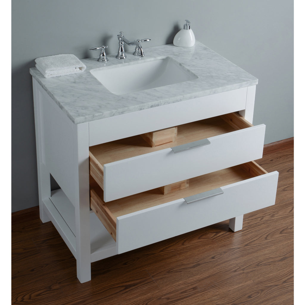 Stufurhome Rochester 36 Inches White Single Sink Bathroom Vanity