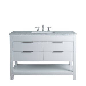 Stufurhome Rochester 48 Inches White Single Sink Bathroom Vanity