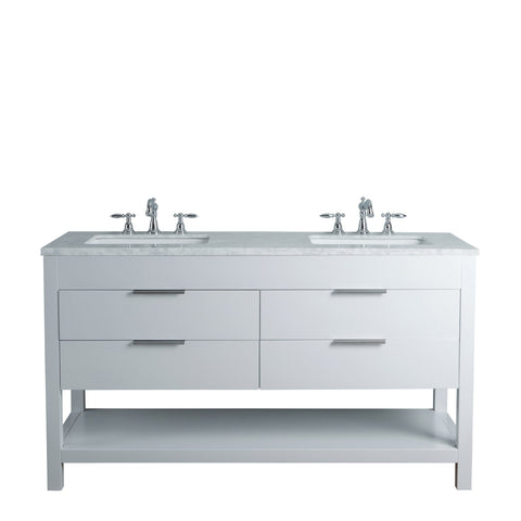 Stufurhome Rochester 60 Inches White Double Sink Bathroom Vanity