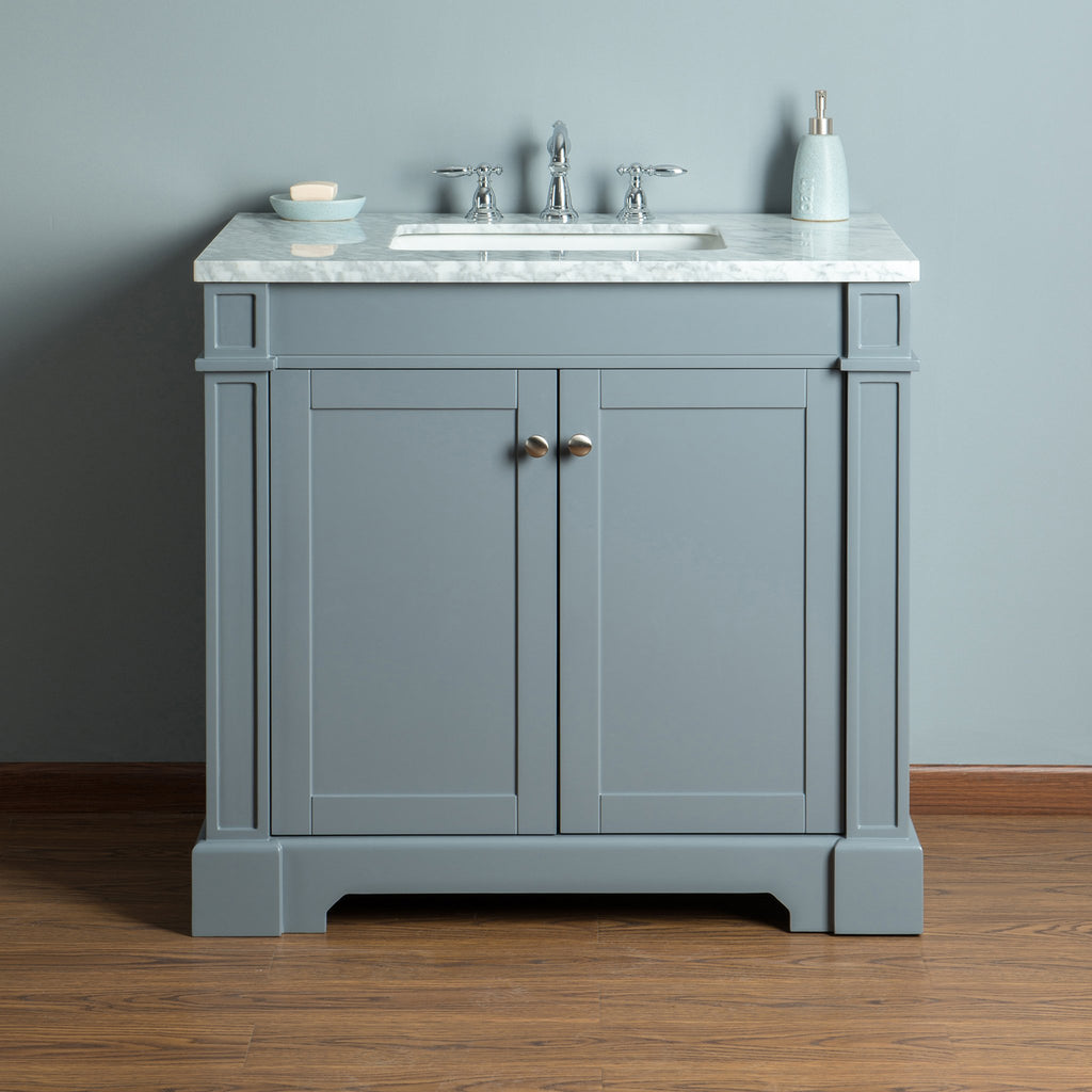 Stufurhome Seine 36 Inches Grey Single Sink Bathroom Vanity