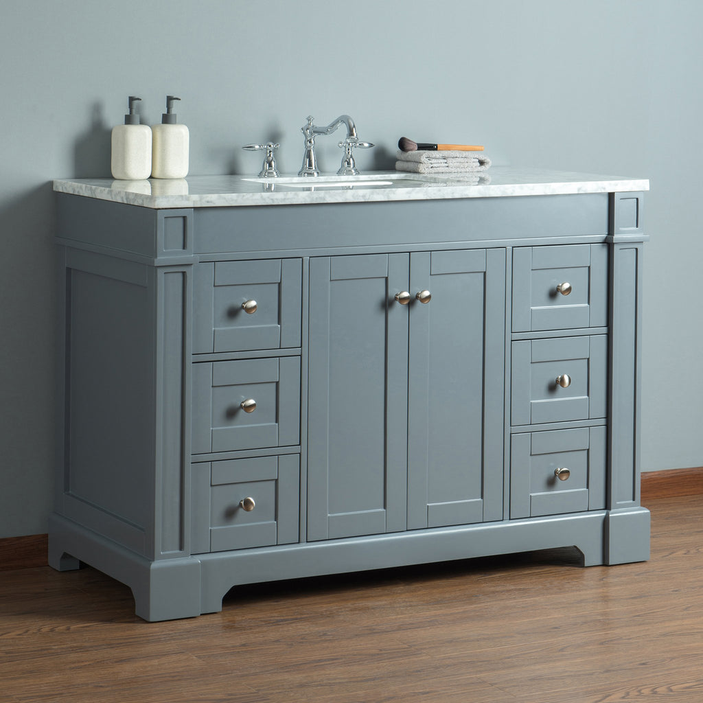 Stufurhome Seine 48 Inches Grey Single Sink Bathroom ...