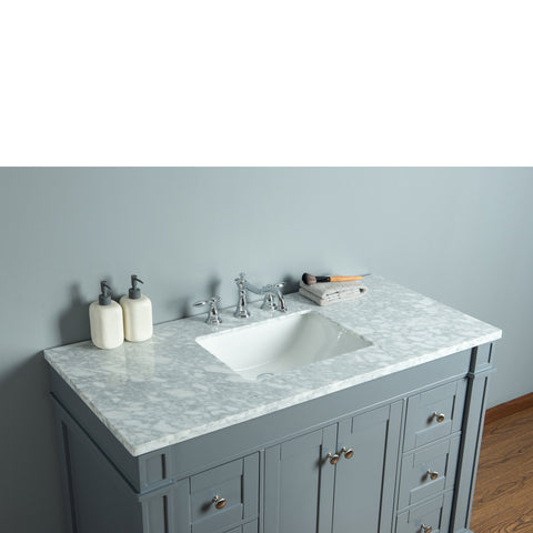Stufurhome Seine 48 Inches Grey Single Sink Bathroom Vanity