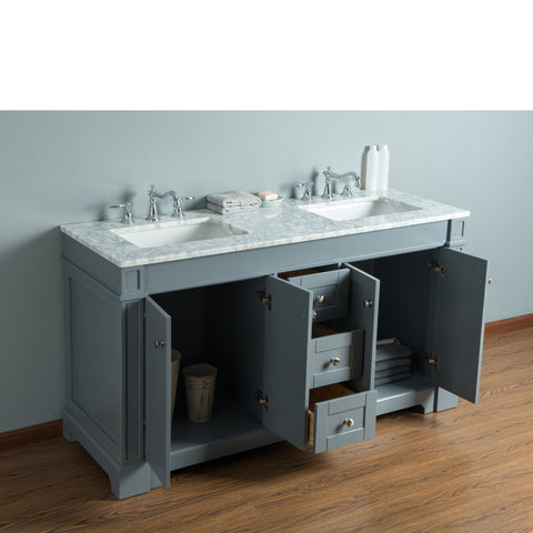 Stufurhome Seine 60 Inches Grey Double Sink Bathroom Vanity