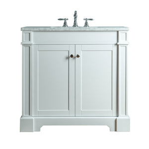 Stufurhome Seine 36 Inches White Single Sink Bathroom Vanity